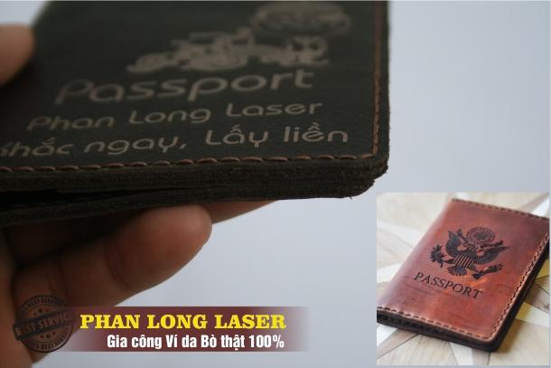 Gia Công Chế tác Ví Da, Bóp da thật 100% đựng PassPort Khắc chữ tại Đà Nẵng